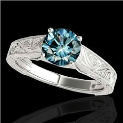 1.5 ctw SI Certified Fancy Blue Diamond Antique Ring 10k White Gold