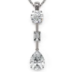 2.5 ctw Pear Cut Diamond Designer Necklace 18K White Gold