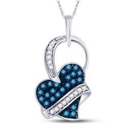 10kt White Gold Womens Round Blue Color Enhanced Diamond Captured Heart Pendant 1/3 Cttw
