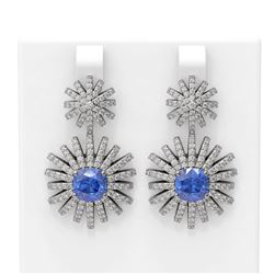 6.9 ctw Tanzanite & Diamond Earrings 18K White Gold
