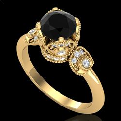1.75 ctw Fancy Black Diamond Engagment Art Deco Ring 18k Yellow Gold