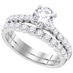 14kt White Gold Womens Round Diamond Bridal Wedding Engagement Ring Band Set 2-1/5 Cttw