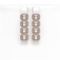 5.33 ctw Emerald Cut Diamond Micro Pave Earrings 18K Rose Gold