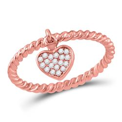 10kt Rose Gold Womens Round Diamond Heart Dangle Stackable Band Ring 1/10 Cttw
