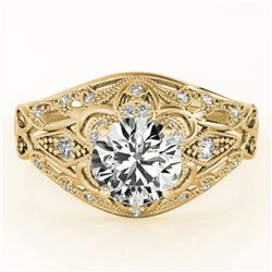 1.36 ctw Certified VS/SI Diamond Solitaire Antique Ring 14k Yellow Gold