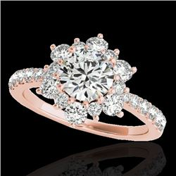 2.19 ctw Certified Diamond Solitaire Halo Ring 10k Rose Gold