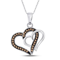 10kt White Gold Womens Round Brown Diamond Double Linked Heart Pendant 1/4 Cttw