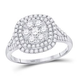 14kt White Gold Womens Round Diamond Right-Hand Cluster Ring 1.00 Cttw
