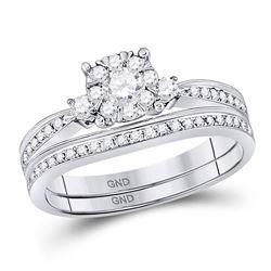 14kt White Gold Womens Diamond Princess Bridal Wedding Engagement Ring Band Set 5/8 Cttw