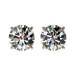 1.59 ctw Certified Quality Diamond Stud Earrings 10k Rose Gold