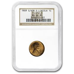1909-S Lincoln Cent MS-64 NGC (Red, S/Horizontal S)