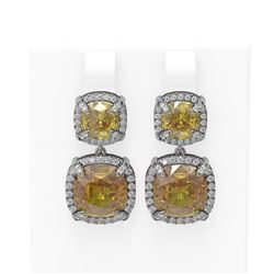 16.23 ctw Citrine & Diamond Earrings 18K White Gold