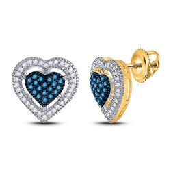 10kt Yellow Gold Womens Round Blue Color Enhanced Diamond Heart Screwback Earrings 3/8 Cttw