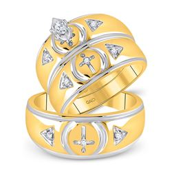 10kt Yellow Gold His & Hers Marquise Diamond Cross Matching Bridal Wedding Ring Band Set 1/6 Cttw