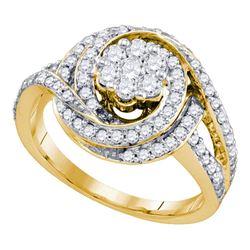 10kt Yellow Gold Womens Round Diamond Flower Cluster Bridal Wedding Engagement Ring 1.00 Cttw