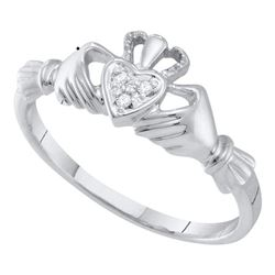 10kt White Gold Womens Round Diamond Claddagh Heart Ring .02 Cttw