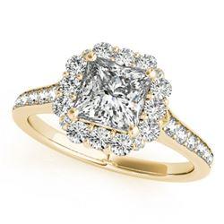 1.5 ctw Certified VS/SI Princess Diamond Halo Ring 18k Yellow Gold