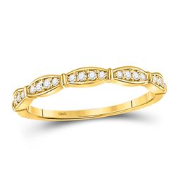 10kt Yellow Gold Womens Round Diamond Stackable Band Ring 1/8 Cttw
