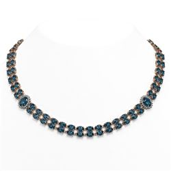 39.28 ctw London Topaz & Diamond Necklace 14K Rose Gold