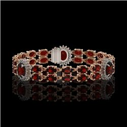 16.47 ctw Garnet & Diamond Bracelet 14K Rose Gold