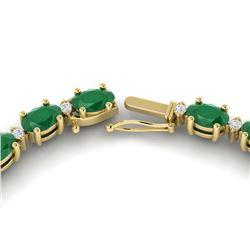 35 ctw Emerald & VS/SI Diamond Eternity Necklace 10k Yellow Gold