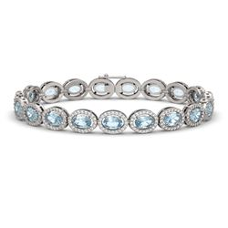 14.82 ctw Sky Topaz & Diamond Micro Pave Halo Bracelet 10k White Gold