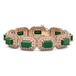 61.92 ctw Emerald & Diamond Victorian Bracelet 14K Rose Gold