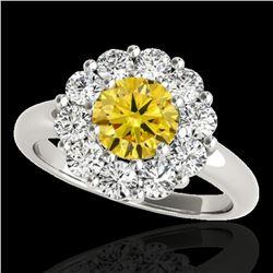 2.09 ctw Certified SI/I Fancy Intense Yellow Diamond Ring 10k White Gold