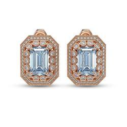 10.91 ctw Aquamarine & Diamond Victorian Earrings 14K Rose Gold
