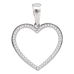 Sterling Silver Womens Round Diamond Heart Outline Pendant 1/6 Cttw
