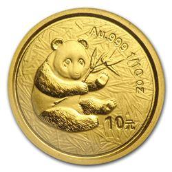 2000 China 1/10 oz Gold Panda Frosted BU (Sealed)
