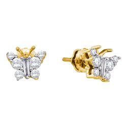 14kt Yellow Gold Womens Baguette Diamond Butterfly Bug Earrings 1/2 Cttw