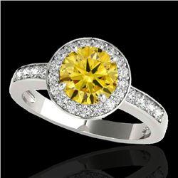 1.4 ctw Certified SI/I Fancy Intense Yellow Diamond Ring 10k White Gold