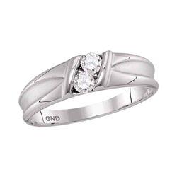 10kt White Gold Mens Round Diamond 2-stone Channel-set Wedding Band 1/3 Cttw