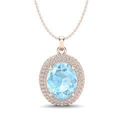 4 ctw Aquamarine & Micro Pave VS/SI Diamond Necklace 14k Rose Gold