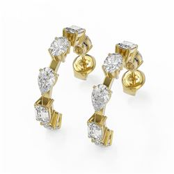 4.2 ctw Mix Cut Diamonds Designer Earrings 18K Yellow Gold