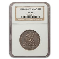 1853 Liberty Seated Half Dollar Arrows & Rays AU-53 NGC