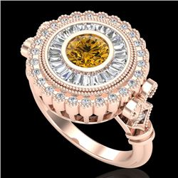 2.03 ctw Intense Fancy Yellow Diamond Art Deco Ring 18k Rose Gold