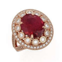 8.76 ctw Certified Ruby & Diamond Victorian Ring 14K Rose Gold