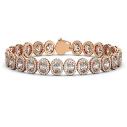 18.8 ctw Oval Cut Diamond Micro Pave Bracelet 18K Rose Gold