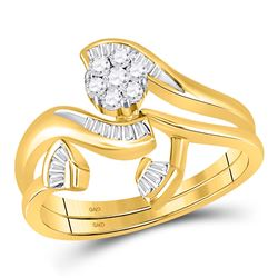 14kt Yellow Gold Womens Round Diamond Cluster Bridal Wedding Engagement Ring Band Set 1/3 Cttw