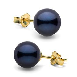 Black Akoya Pearl Stud Earrings, 7.0-7.5mm