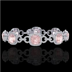 22 ctw Morganite & Micro VS/SI Diamond Bracelet 14k White Gold