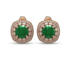12.49 ctw Certified Emerald & Diamond Victorian Earrings 14K Rose Gold