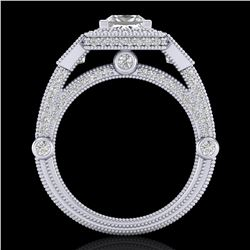 3 ctw Princess VS/SI Diamond Art Deco 3 Stone Ring 18k White Gold