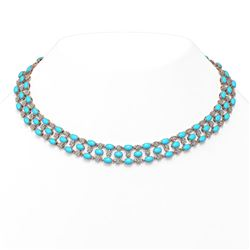 44.45 ctw Turquoise & Diamond Necklace 10K Rose Gold