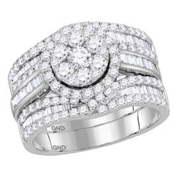 14kt White Gold Womens Round Diamond Cluster Bridal Wedding Engagement Ring Set 2.00 Cttw