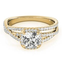 1 ctw Certified VS/SI Cushion Diamond Halo Ring 18k Yellow Gold