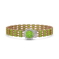 29.26 ctw Peridot & Diamond Bracelet 14K Rose Gold