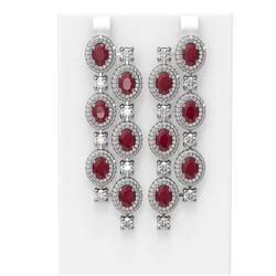 21.48 ctw Ruby & Diamond Earrings 18K White Gold